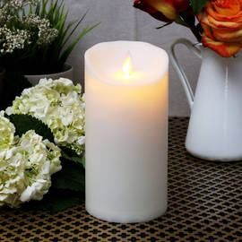 """Moving Flame Ivory 7"""" Outdoor Pillar Candle"""