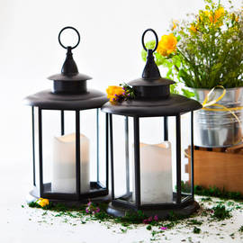 """Watchman""""s Lantern with Flameless Candle, Set of 2"""