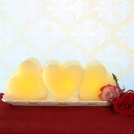 3D Heart Flameless Candle, Set of 3