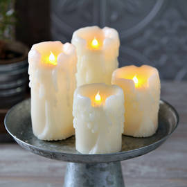 Gothic Heavy Drip Ivory Wax Flameless Candles, Set of 4