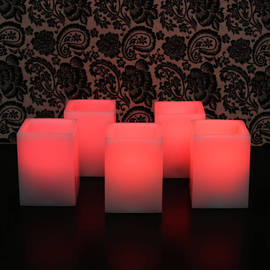"Square 4"" Flameless Wax Candles with Remote, Set of 5"