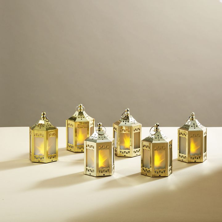 Anthea Gold Mini Holographic Stars Lanterns, Set of 6