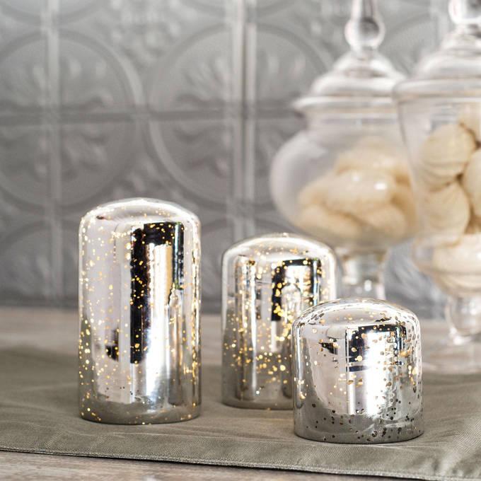 lightscom flameless candles tea lights u0026 votives vintage mercury glass candle with timer set of 3 - Flameless Candles With Timer