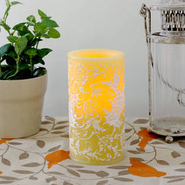 Floral Flameless Spring Wedding Wax Candle with Timer