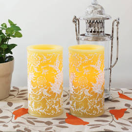 Floral Flameless Spring Wedding Wax Candle with Timer, Set of 2