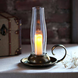 Brass Antique Lantern with Flameless Votive and Timer