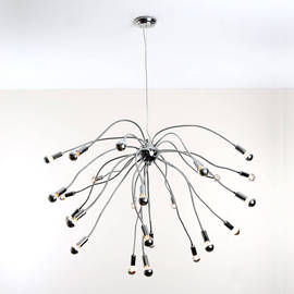 Chaos 24-Arm Chandelier with G16.5 Silver Bowl Candelabra Bulbs