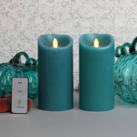 "Blue Sage 7"" Flameless Moving Wick Candles with Remote, Set of 2"