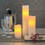 Tall Ivory Distressed Melted-Edge Flameless Pillar Candles, Set of 3