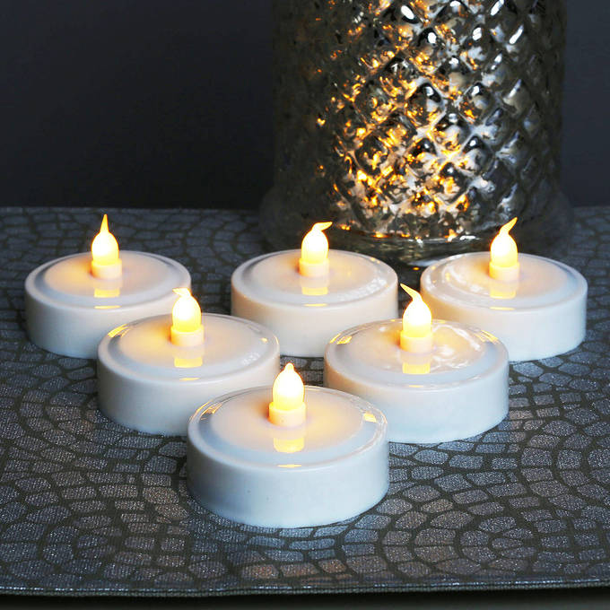 Jumbo Amber Tea Lights with Color Changing Option, Set of 6