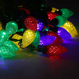 Multicolor C7 Berry Bulb Battery String Lights, Strand of 100