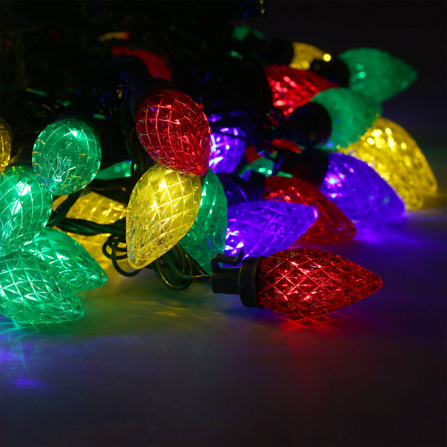 Lights.com String Lights Christmas Lights Multicolor C7 Berry Bulb Battery String Lights ...