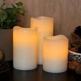 Distressed Flameless Wax Pillar Candles, Set of 3