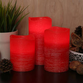 Distressed Red Flameless Wax Pillar Candles, Set of 3