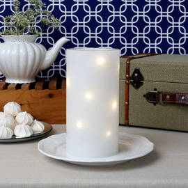 Twinkling Starlight Flameless Wax Pillar Candle, Remote Ready
