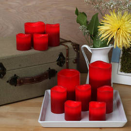 Melted Edge Flameless Wax 11-Candle Centerpiece Set, Red