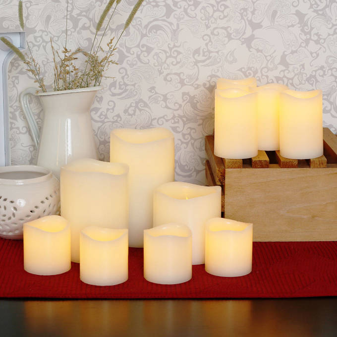 Lights Com Flameless Candles Pillar Melted Edge Wax 11 Candle Centerpiece Set