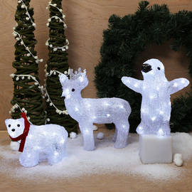 Cool White Acrylic Winter Animal Battery Lights