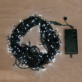 Cool White Battery-Powered 300 LED String Lights with Timer, 93 ft.