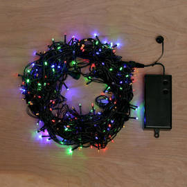 Multicolor Battery-Powered 300 LED String Lights with Timer, 93 ft.