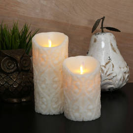 Ivory Damask Moving Flame Pillar Candle