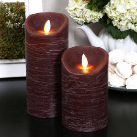 Distressed Bordeaux Moving Flame Pillar Candle
