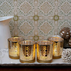 Deco Glass Votives with Poured Wax Tea Light, Set of 4