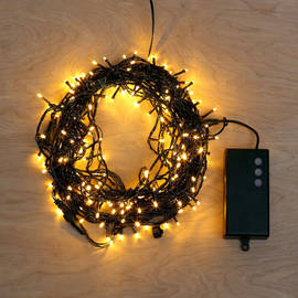 Warm White Battery-Powered 200 LED String Lights with Timer, 62 ft.