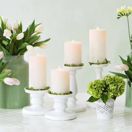 Moving Flame Flat Top Flameless Pillar Candles with Timers