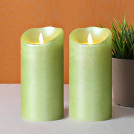 "Metallic Lime 7"" Flameless Moving Wick Candles with Remote, Set of 2"