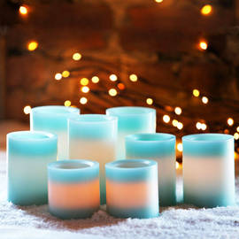 Blue Cream Faux Wick Flameless Pillar Candles, Set of 8