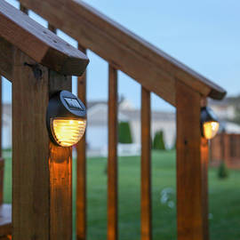 Brown Outdoor Solar Wall Lights, Set of 4