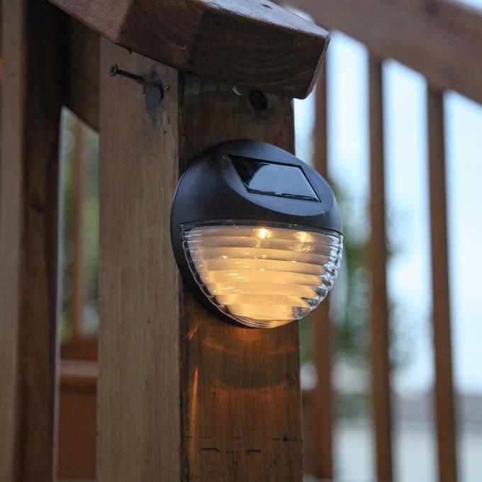 Frostfire Solar Wall Lights : Lights.com Solar Solar Wall Brown Solar Fence Lights, Set of 4