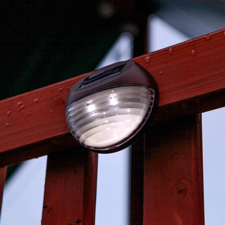 Blue Solar Wall Lights : Lights.com Solar Lighting Landscape Brown Solar Fence Lights, Set of 4
