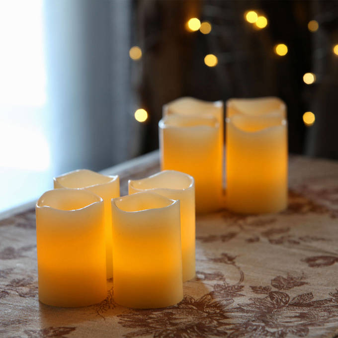 Flickering Flame Melted Edge Wax Votive Candles, Set of 8