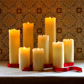 Slim Drip Flameless Wax Pillar Candles with Timer and Remote, Set of 8