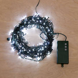 Cool White Battery-Powered 200 LED String Lights with Timer, 62 ft.