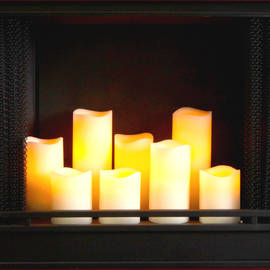 Premium Ivory Flameless Wax Candles with Timer and Remote, Set of 4