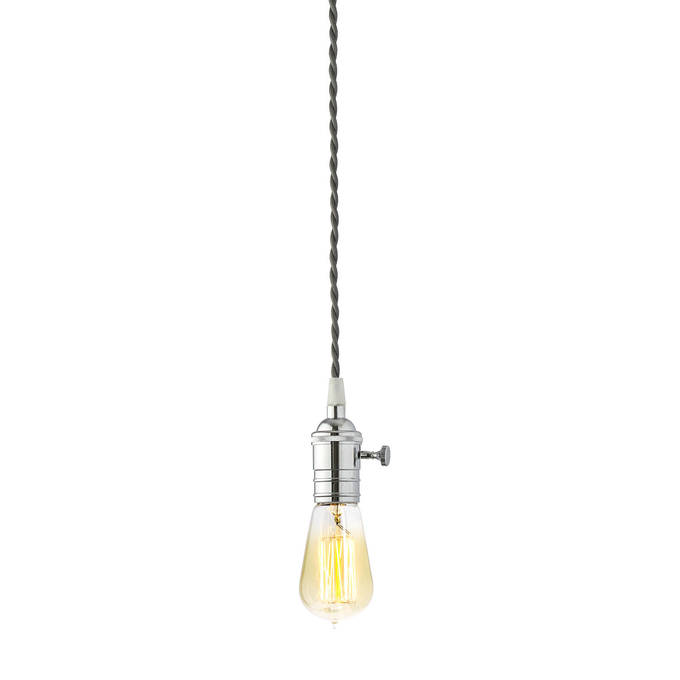 Polished Chrome Tillary Single Socket Pendant with Vintage Bulb, Grey