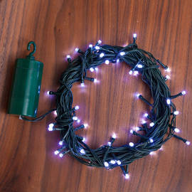 Cool White 64 LED Battery String Lights with Timer