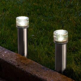 Stainless Steel Iced Solar Bollard Light, Set of 2