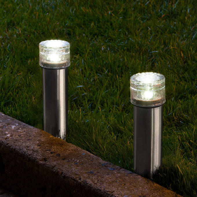 Warm White Stainless Steel Iced Solar Bollard Light Set Of 2