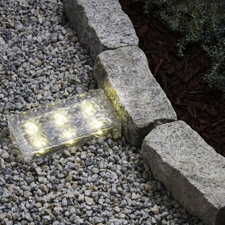 "Iced 8x4"" Solar Brick Light, Warm White"