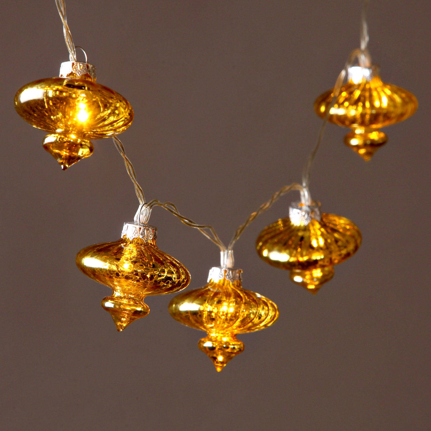 Lights.com Lit Decor String Lights Decorative Vintage Gold Glass Lantern Battery String ...