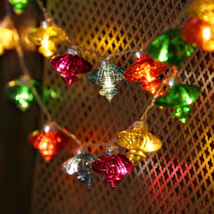 Vintage Multicolor Glass Lantern Battery String Lights, Strand of 24