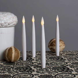 "Smooth White 6"" Resin Taper Candles with Remote, Set of 4"