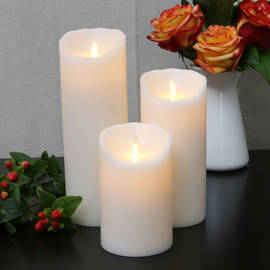 Ivory Smooth Wax Moving Flame Pillar Candles