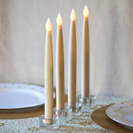 Smooth Ivory Tall Resin Taper Candles with Remote, Set of 4