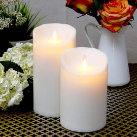 Outdoor Ivory Moving Flame Pillar Candles with Timers