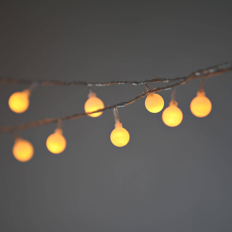 Lights.com Lit Decor String Lights Vintage String Lights Frosted Warm White Globe String ...